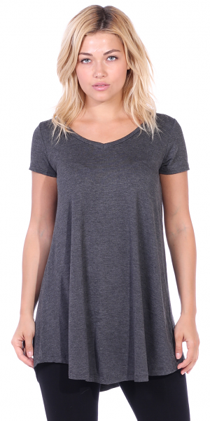 Women's Tunic Top Dress Short Sleeve - Wear With Leggings in Regular and Plus Size - Made In USA - Charcoal