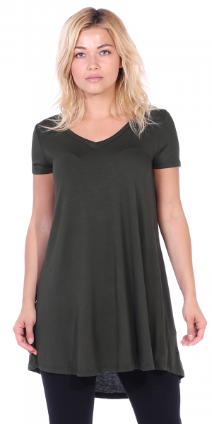 Women's Tunic Top Dress Short Sleeve - Wear With Leggings in Regular and Plus Size - Made In USA - Olive