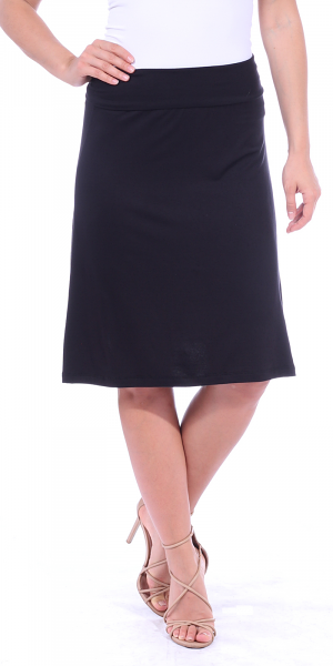 Short Maxi Skirt - Knee Length Fold Over High Waisted Midi Skirt - Made in USA - Black