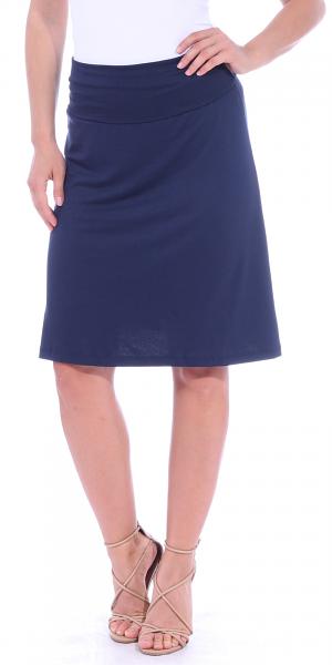 Short Maxi Skirt - Knee Length Fold Over High Waisted Midi Skirt - Made in USA - Navy