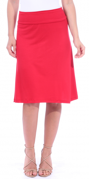 Short Maxi Skirt - Knee Length Fold Over High Waisted Midi Skirt - Made in USA - Red