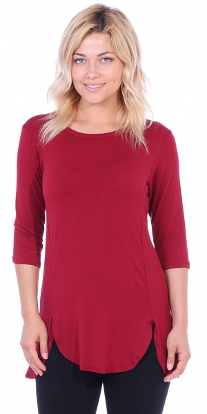Women's Tunic Tops to Wear with Leggings 3/4 Sleeve - Made In USA - Burgundy