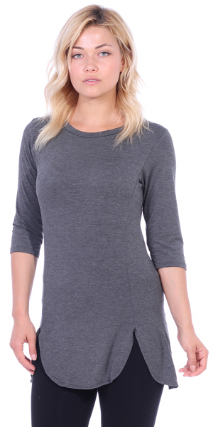 Women's Tunic Tops to Wear with Leggings 3/4 Sleeve - Made In USA - Charcoal