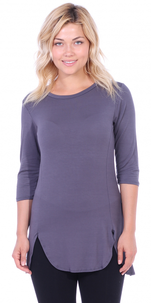 Women's Tunic Tops to Wear with Leggings 3/4 Sleeve - Made In USA - Slate