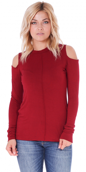Women's Cold Shoulder Top - Long Sleeve Cut Out Shoulder Style - Made In USA - Burgundy