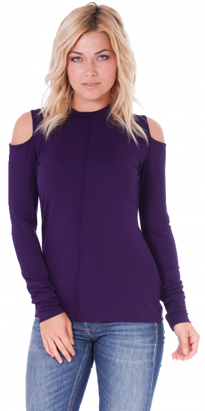Women's Cold Shoulder Top - Long Sleeve Cut Out Shoulder Style - Made In USA - Eggplant
