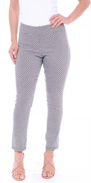 Pull On Pants For Women Ankle Length - Casual Mid Rise Stretch Office Work Pants - M1
