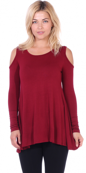 Open Cut Out Cold Shoulder Tunic Top for Women - Long Sleeve Top for Leggings - Made In USA - Burgundy