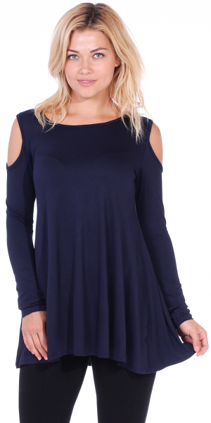 Open Cut Out Cold Shoulder Tunic Top for Women - Long Sleeve Top for Leggings - Made In USA - Navy