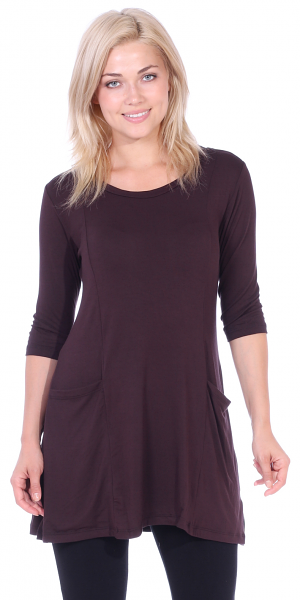 Women's 3/4 Sleeve Tunic With Pockets - Made in USA - Brown