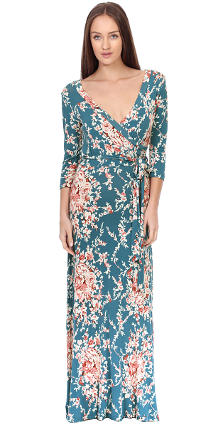 Maxi Dress With Sleeves - Casual Colorful Floral Summer Wedding Prints - Made In USA - ST60