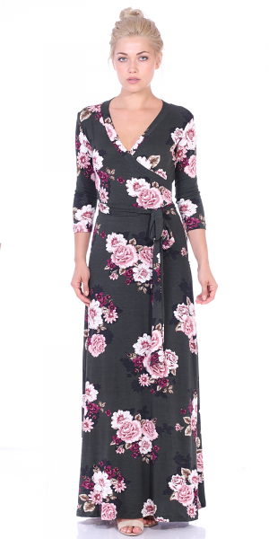 Maxi Dress With Sleeves - Casual Colorful Floral Summer Wedding Prints - Made In USA - ST91