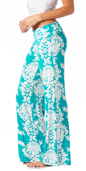 Print Palazzo Pants - Made in USA - Mint