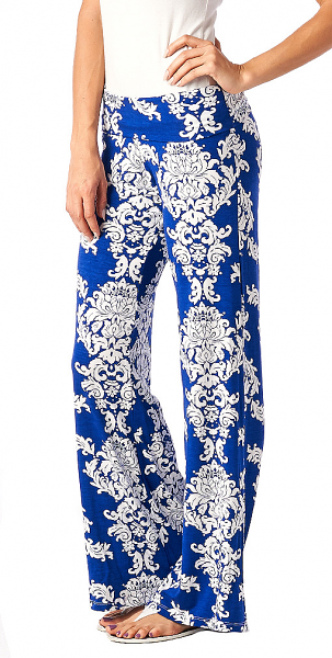 Print Palazzo Pants - Made in USA - Royal