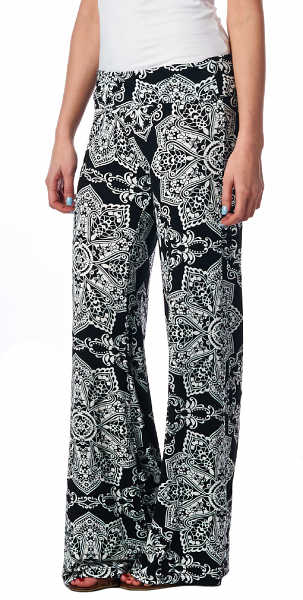 Print Palazzo Pants - Made in USA - ST27