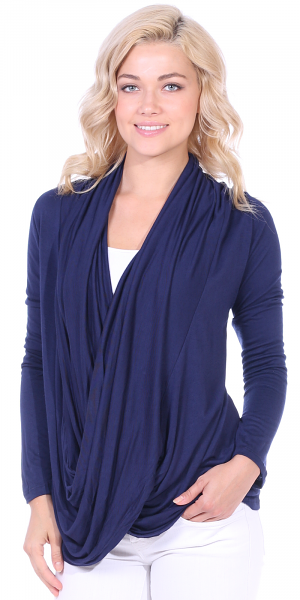 Long Sleeve Criss Cross Cardigan Also in Plus - Made In USA - Navy