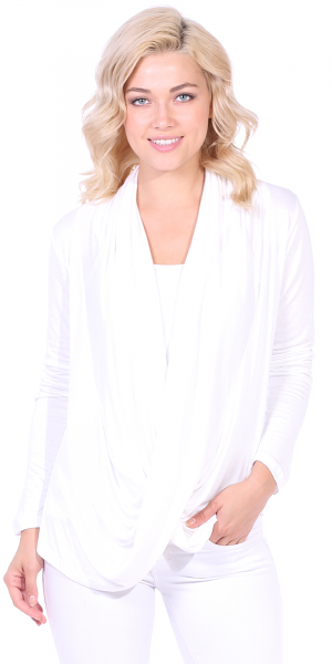 Long Sleeve Criss Cross Cardigan Also in Plus - Made In USA - Pearl
