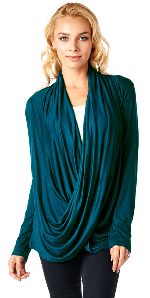 Long Sleeve Criss Cross Cardigan Also in Plus - Made In USA - Teal