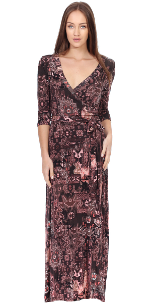 Maxi Dress With Sleeves - Casual Colorful Floral Summer Wedding Prints - Made In USA - ST16