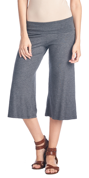 Women's Capri Culottes Gaucho Cropped Flattering High Waisted Pants - Made In USA - Charcoal