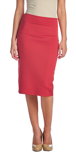 Women's High Waist Knee Length Stretch Pencil Skirt - Ladies Shaping Midi Skirt for Work or Office - Made In USA - Coral