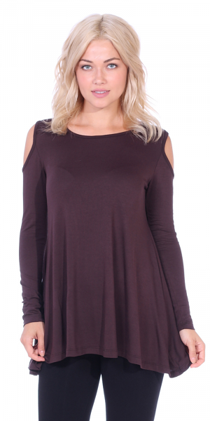 Open Cut Out Cold Shoulder Tunic Top for Women - Long Sleeve Top for Leggings - Made In USA - Brown