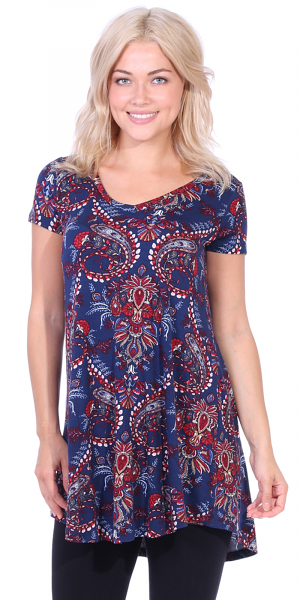 Women's Tunic Top Dress Short Sleeve - Wear With Leggings in Regular and Plus Size - Made In USA - ST55