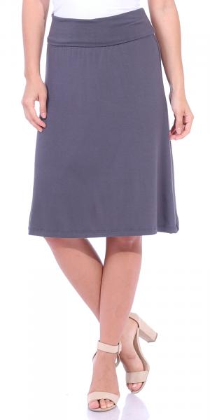 Short Maxi Skirt - Knee Length Fold Over High Waisted Midi Skirt - Made in USA - Slate