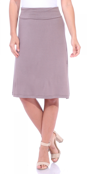 Short Maxi Skirt - Knee Length Fold Over High Waisted Midi Skirt - Made in USA - Toffee