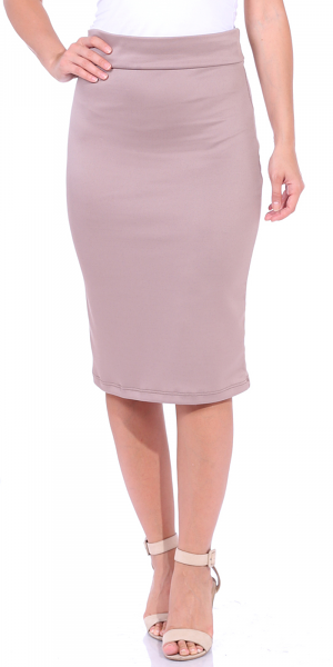 Women's High Waist Knee Length Stretch Pencil Skirt - Ladies Shaping Midi Skirt for Work or Office - Made In USA - Toffee