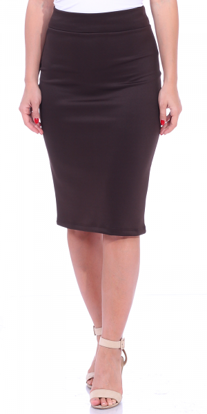 Women's High Waist Knee Length Stretch Pencil Skirt - Ladies Shaping Midi Skirt for Work or Office - Made In USA - Brown