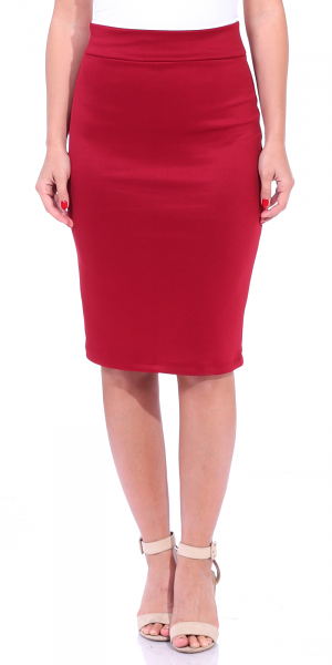 Women's High Waist Knee Length Stretch Pencil Skirt - Ladies Shaping Midi Skirt for Work or Office - Made In USA - Burgundy