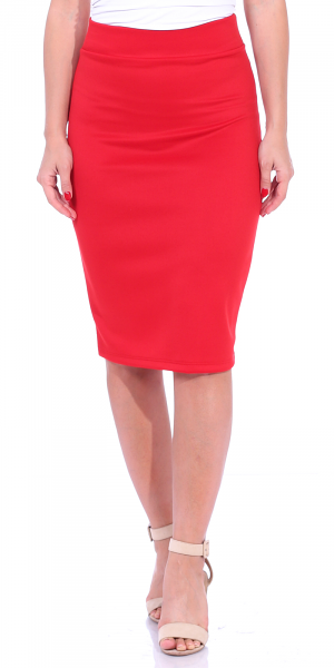 Women's High Waist Knee Length Stretch Pencil Skirt - Ladies Shaping Midi Skirt for Work or Office - Made In USA - Red