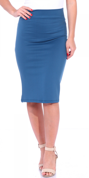 Women's High Waist Knee Length Stretch Pencil Skirt - Ladies Shaping Midi Skirt for Work or Office - Made In USA - Teal