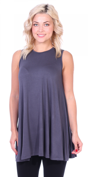 Women's Sleeveless Tank Top Tunic - Loose Fit Flowy Tunic Tank For Leggings - Made In USA - Slate