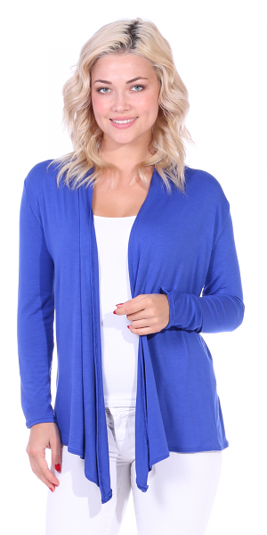 Super-Soft Open Front Drape Cardigan - Made In USA - Royal