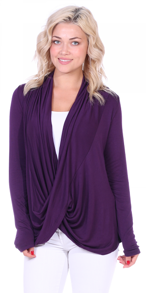 Long Sleeve Criss Cross Cardigan Also in Plus - Made In USA - Eggplant