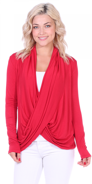 Long Sleeve Criss Cross Cardigan Also in Plus - Made In USA - Red
