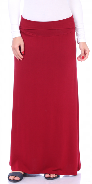 Comfortable Fold-Over Maxi Skirt - Made in USA - Burgundy