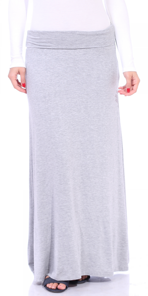Comfortable Fold-Over Maxi Skirt - Made in USA - HGray