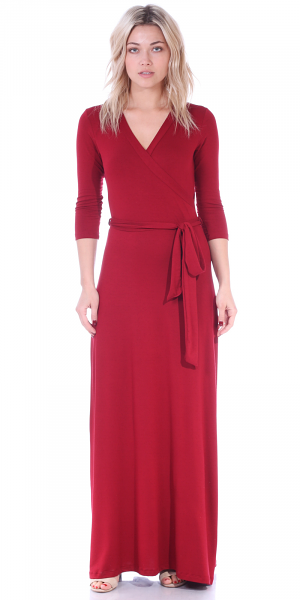 Maxi Dress With Sleeves - Casual Colorful Floral Summer Wedding Prints - Made In USA - Burgundy