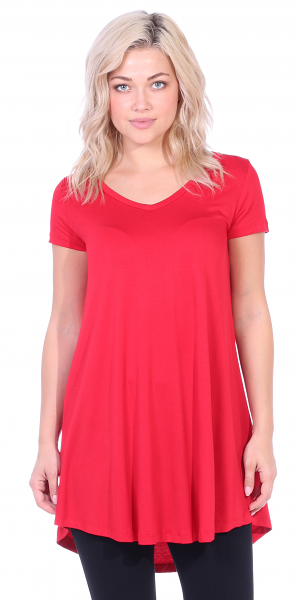Women's Short Sleeve Tunic Top Loose Fit Shirt - Wear With Leggings Plus Size - Made In USA - Red