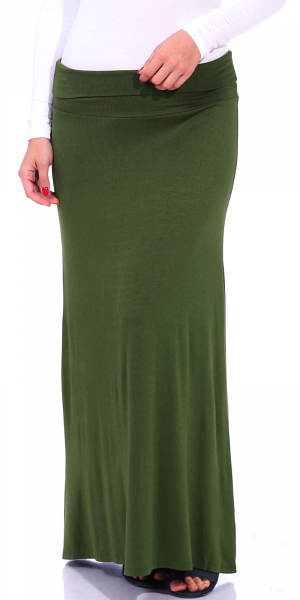 Comfortable Fold-Over Maxi Skirt - Made in USA - Olive