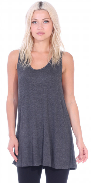 Floral Print Summer Tank Charcoal