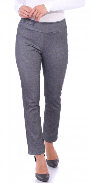 Pull On Pants For Women Ankle Length - Casual Mid Rise Stretch Office Work Pants - Charcoal