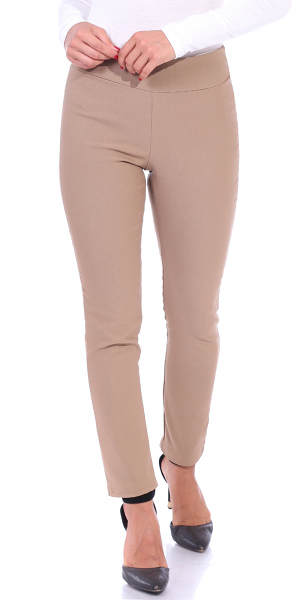 Pull On Pants For Women Ankle Length - Casual Mid Rise Stretch Office Work Pants - Khaki