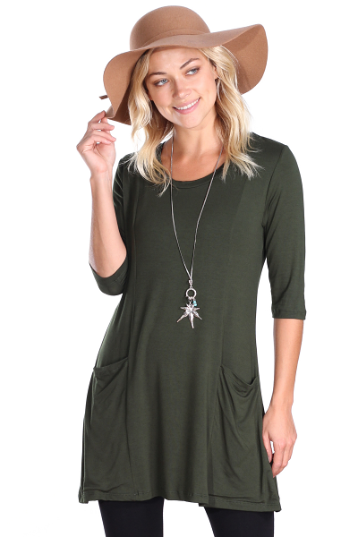 Women's 3/4 Sleeve Tunic With Pockets - Made in USA - Olive