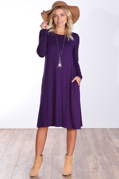 Womens Below the Knee Long Sleeve Swing Dress with Pockets - Made In USA ( Eggplant )