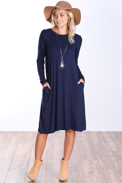 Womens Below the Knee Long Sleeve Swing Dress with Pockets - Made In USA ( Navy )