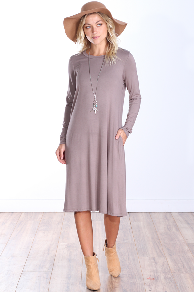 Womens Below the Knee Long Sleeve Swing Dress with Pockets - Made In USA ( Toffee )